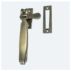 Satin nickel Art Deco casement fastener non locking mortice