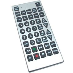 Jumbo Universal Remote Control for Low Vision by Maxi-Aids. $16.45. LED indicator turns on when key is pressed. Control up to 8 devices, including TV, VCR, DVD, Cable, Satellite, TV/VCR Combo, TV/DVD Combo. Large easy-to-read rubber keys for simple navigation. Replace all of your old, easy-to-lose remotes. 8 Functions Jumbo Universal Remote Control TV VCR Cable DVD Satellite Low Vision.