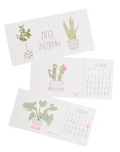 houseplants 2015 postcard calendar // new