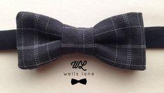 The  Grey Plaid   Little Boy Bow Tie by WellsLane on Etsy