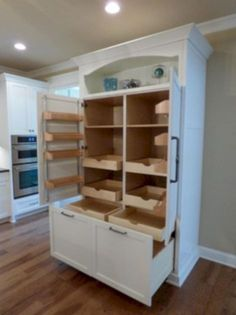 Custom Built-In Pantry with Rollout Shelves – craftsman – Kitchen – Other Metro … - kitchen pantry cabinets Stand Alone Kitchen Pantry, Kitchen Pantry Cupboard, Kitchen Pantry Design, Ikea Pantry, Armoire Pantry, Wall Pantry, Kitchen Ideas, Armoire In Kitchen, Pantry Cupboard Designs