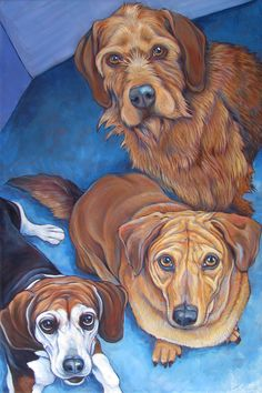 "Beagle, Dachshund / Yellow Lab Mix and Terrier Mixed Breed Dog Custom Pet Portrait Painting in Acrylic Paint on Canvas, 24"" x 36"" Order your own or give the perfect gift, shop online at: www.petportraitsbybethany.com #beagle #terrier #borderterrier #dachshund #petportraits #petportrait #custmopetportrait #custompetportraits #dogportrait #dogportraits #petmemorial #petgift #doglover #petlovergift #dogart #petart #dogpainting #petpainting"