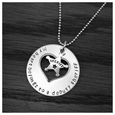 "Simple ""My heart belongs to a deputy sheriff"" necklace - $30 www.facebook.com/metalstampinmama or email metalstampinmama@gmail.com"