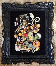 VINTAGE RHINESTONE JEWELRY FRAMED HALLOWEEN PIN TREE ART ~ OWL FROG PUMPKIN