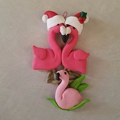 FLAMINGO Family of 3 CHRISTMAS ORNAMENT PINK FLAMINGO Traditional Family Non Traditional Family Hand Made Polymer Clay OOAK PERSONALIZED
