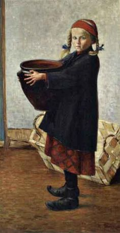 Girl with large pot by Hugo Simberg in International Art on December 2006 at the null null sale lot 100 St John's Church, Amber Tree, Drawing School, North Europe, Boy Fishing, Hans Christian, Vintage Artwork, Old Women, Finland