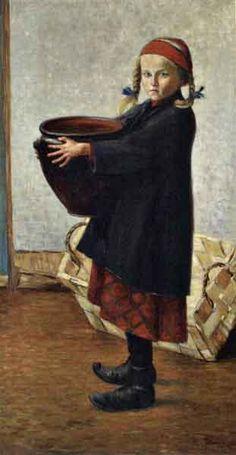 Girl with large pot by HUGO SIMBERG (1873-1917)