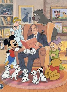 Walt Disney and his friends, reading.
