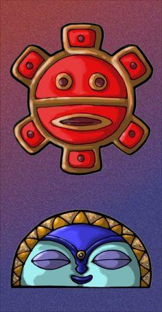 Taino Sun and Moon Symbols by MaverickTears on DeviantArt Taino Symbols, Moon Symbols, Native Art, Native American Art, Sol Taino, Coqui Taino, Puerto Rican Power, Puerto Rico Tattoo, Taino Tattoos
