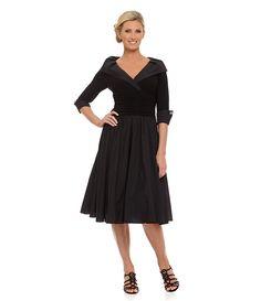 Evening Black:Jessica Howard Portrait-Collar Party Dress
