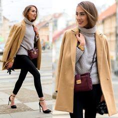 Stradivarius Camel Coat, Mango Burgundy Crossbody Bag, Blackfive Grey Knitted Turtleneck Sweater, Stradivarius Black Skinny Jeans, Stradivarius Black Heeled Court Shoes