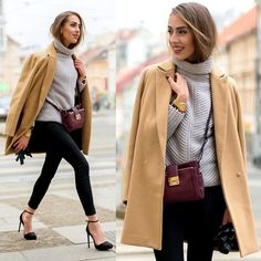 Stradivarius Camel Coat, Mango Burgundy Crossbody Bag, Blackfive Grey Knitted Turtleneck Sweater, Stradivarius Black Skinny Jeans, Stradivarius Black Heeled Court Shoes