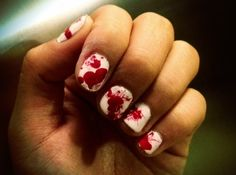 BLOOD SPATTER NAILS!! YES YES YES