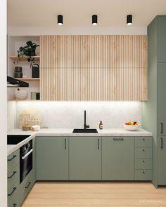 #cocinas Modern Kitchen Design, Interior Design Kitchen, Ikea Kitchen Design, Kitchen Island Ikea, Grey Ikea Kitchen, Ikea Metod Kitchen, Sage Green Kitchen, Green Kitchen Island, Ikea Interior