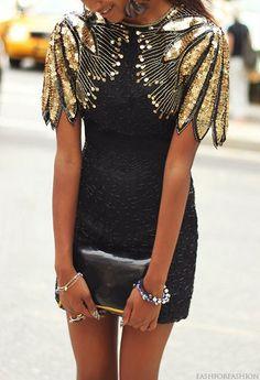 Vintage Black and Gold Sequin Dress