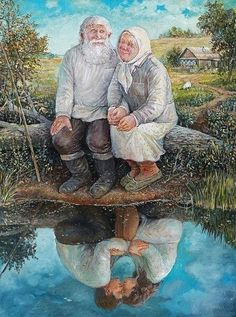 old couple painting by the water reflecting Art And Illustration, Illustrations, Couple Painting, Couple Art, Photos Originales, Growing Old Together, Old Couples, Russian Art, Love Art