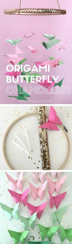 Glam and Girly Origami Butterfly Chandelier, perfect for a baby shower, girl 1st birthday, bridal shower or as room decor | CatchMyParty.com