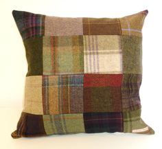 Admittedly one of my own. 20% off Tweed Patchwork Cushion by TeacupTweed on Etsy, £28.00