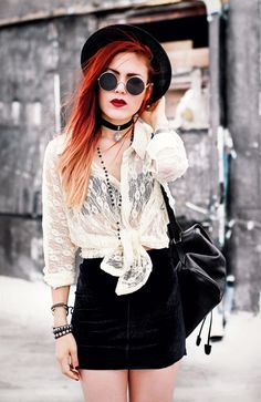 Blouse- Vintage / similar here Blazer – She Inside Sandals – Romwe Sunglasse. - Blouse- Vintage / similar here Blazer – She Inside Sandals – Romwe Sunglasses – Romwe Hat – ASOS Source by jelavendel - Edgy Outfits, Grunge Outfits, Grunge Fashion, Skirt Outfits, Gothic Fashion, Look Fashion, Summer Outfits, Cute Outfits, Fashion Outfits