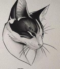 Эскиз татуировки с кошкой #CatTattoo
