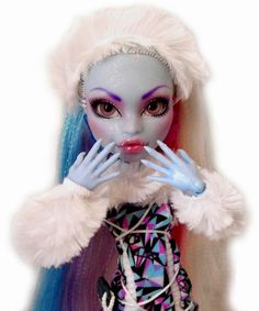 ☠ OOAK GLASS EYES custom Monster High doll repaint Abbey Bominable ☠
