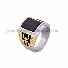 anillo de piedra negra en acero plata inoxidable para colegio -SSRGG371789