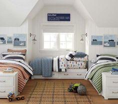 boys' bunk room. Gavin Sheeting | Pottery Barn Kids