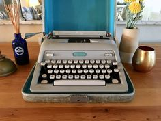 Your place to buy and sell all things handmade Working Typewriter, Typewriter For Sale, Antique Typewriter, Portable Typewriter, Montgomery Ward, Vintage Typewriters, Blue Accents, Black Ribbon, Etsy Shop