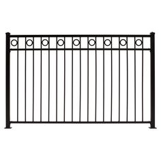 Gilpin (Common: 4-ft x 6-ft; Actual: 3.75-ft x 6-ft) Deco Black Steel Decorative Fence Panel