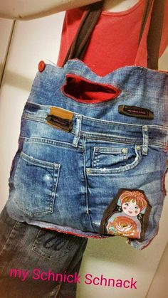 I love it - Bag DIY Upcycling Jeans  torebka z dzinsow