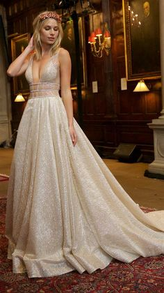 Princess Prom Dresses Long, 2020 Champagne Prom Dresses Glitter, Beautiful Prom Dresses Beaded, Gorgeous Prom Dresses V Neck, Multi Colors & Styles, Shop Now, Can Enjoy 80% Off, Save Today! #sparkly #formal #dresses #promdress #bling