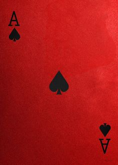 Ace of Spades in Black on Red Canvas   by Serge Averbukh