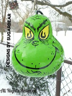 Items I Love by on Etsy Decorative Gourds, Hand Painted Gourds, Painted Pumpkins, Grow Pumpkins, Pumpkin Crafts, Gourd Crafts, Grinch Hands, Halloween Gourds, Garden Art