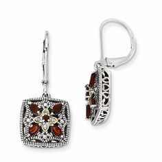 Sterling Silver and 14k Diamond & Garnet Earrings