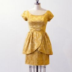 1960s Metallic Gold Peplum Cocktail Dress 60s by daisyandstella, $75.00