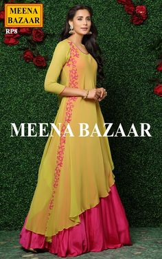 Let the compliments rolling in when you step out in this deep pink and yellow gown by Meena bazaar. The outer of this gown is in yellow color which has pink applique de Long Dress Design, Stylish Dress Designs, Dress Neck Designs, Stylish Dresses, Simple Dresses, Fashion Dresses, Sleeve Designs, Designer Party Wear Dresses, Kurti Designs Party Wear