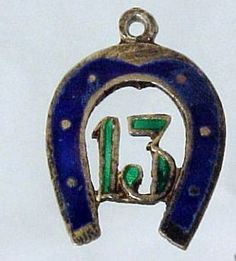 luck enameled charm (13 in a horseshoe)