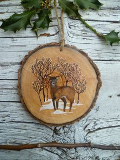 Large Rustic Christmas Ornament: Doe in Winter Woodland
