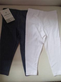 Carter's Baby Girl 2pair Legging Denim And White Size 12 Months New
