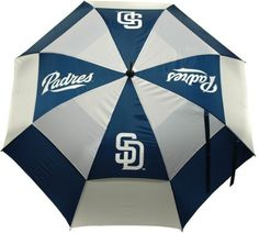 """MLB San Diego Padres Umbrella, Navy from Team Golf - 62"""" double-canopy umbrella with multi-colored panels and full color durable imprint. Includes an easy grip molded handle. Withstands strong winds. http://www.umbrellaforsale.com/mlb-san-diego-padres-umbrella-navy/"""