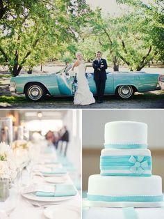 Tiffany Blue Hochzeit Inspiration Blau Auto Hochzeitstorte und Tischdeko 2014 Romantische Pastellfarben Hochzeit Inspiration