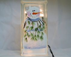 Glass Block Small-Snowman with Branch Sweater-Night Light Lamp