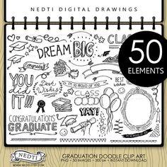 Herzlichen Glückwunsch ClipArt Graduate, Graduation Doodle, Beschriftung, Digital Foto Overlays, Clipart, handgezeichnete, Fotografie, Scribble, Nedti
