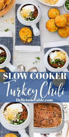 Easy Turkey Chili made in a slow cooker/crockpot or on the stovetop. Fantastic slow cooker chili for an easy dinner, and serves a crowd! #turkeychili #chili #slowcooker #crockpot #easydinner #recipe Stove Top Recipes, Pork Recipes, Slow Cooker Recipes, Easy Turkey Chili, Best Macaroni Salad, Slow Cooker Chili, Best Dinner Recipes, Soup And Sandwich, Crowd