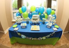 Blue and Green Baby Shower Decor - it doesn't have to be expensive!