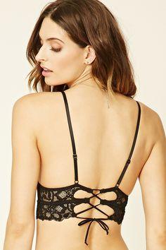 A knit lace bralette with a cutout lace-up back, adjustable straps, and scalloped trim. Lacy Lingerie, Lingerie Shoot, Cute Lingerie, Beautiful Lingerie, Bikini Set, Sexy Bikini, Pretty Bras, Wet Seal, Cute Underwear