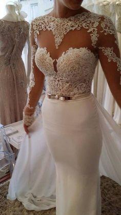 wedding dresses sweetheart neckline mermaid sleeves - Google Search
