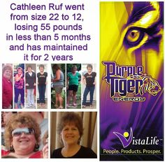 Purple Tiger Works!!! Cathleen went from a size 22 to 12, losing 55 pounds in 5 months and has maintained it for 2 years!! She is one happy camper!  Contact Jim@4JsHealth.com for free samples or get in on the 4J's Health Holiday Special Discount of $6 (13.4%) for YOUR bottle of Purple Tiger. Start living the Vista Life today and get your appetite and energy under control before the start of the year.