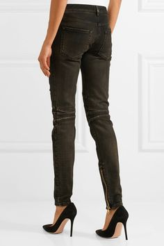 Balmain - Distressed Mid-rise Skinny Jeans - Gray