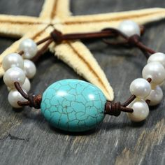 Ciel Bleu Turquoise Leather and Pearls Bracelet ~ I received this for my birthday ~ It's gorgeous!